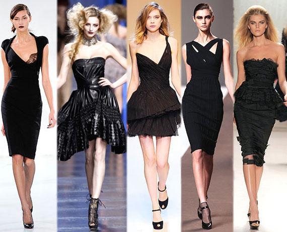 Черные модные стильные платья